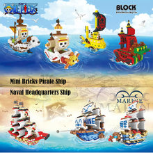 Mini Brick One Piece Pirates Ship Block Set Going Merry Thousand Sunny Nine Snake Law Submarine Building Toy For Kids(China)