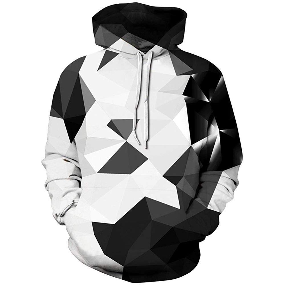 Men's brand hoodie 3D geometric print digital print white and black flame-sleeve hoodie men's hoodie men's hoodie harajuku 2020