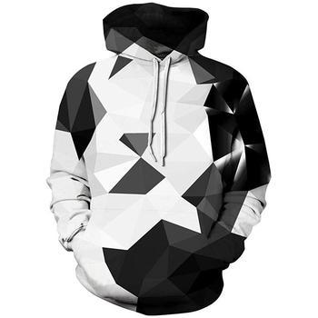 цена на Men's brand hoodie 3D geometric print digital print white and black flame-sleeve hoodie men's hoodie men's hoodie harajuku 2020