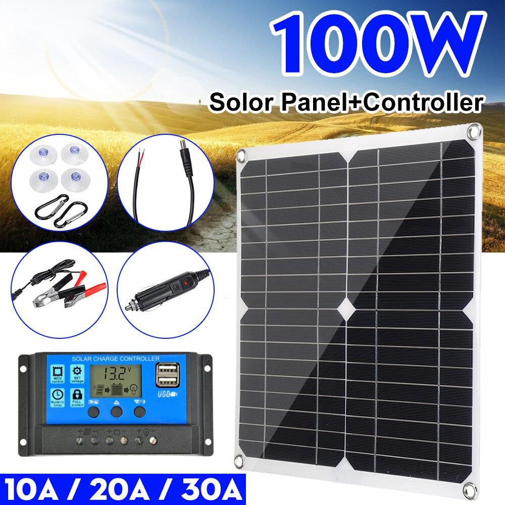 Panel Solar Dual de 100w para coche, 12v/5v, USB con controlador 30A, células solares impermeables, celdas solares de polímero para coche, yate, RV, cargador de batería