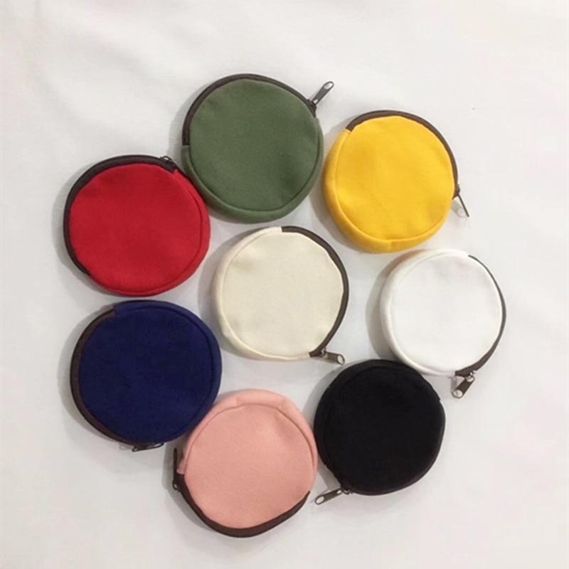 Candy Color Round Canvas Coin Purse Women Girls Creative Credit ID Card Holder Case Zipper Pouch Girl Earphone Organizer Bag