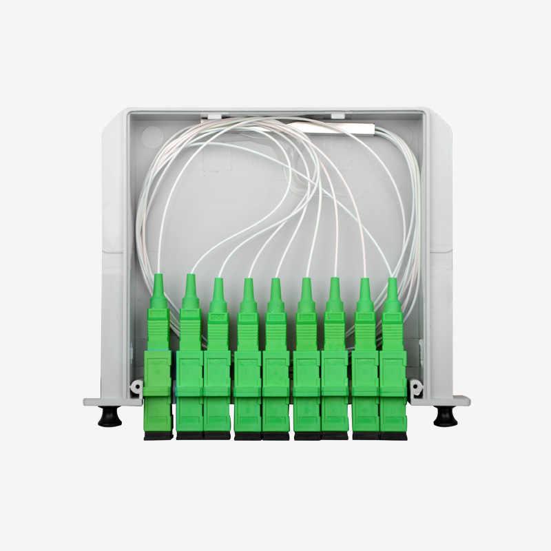 SC APC 1x8 الخائن واحد وضع الألياف البصرية مربع 1x8 PLC الفاصل مربع FTTH PLC الفاصل 1x8 مع SC/APC موصل