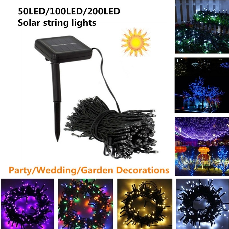 Solar LED String Lights Outdoor 50 100 200 LED Fairy Lights Wedding Party Garden String Lights for Christmas Decoration