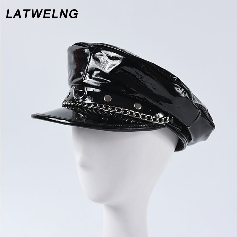 2020 Autumn Winter New Fashion Show Moon Rivet Chain Military Caps Luxury Brand Octagonal Hat Patent Leather Newsboy Cap Unisex-in Men's Sun Hats from Apparel Accessories