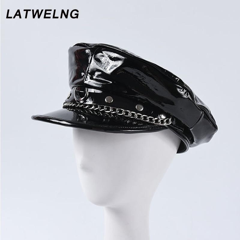 2020 Autumn Winter New Fashion Show Moon Rivet Chain Military Caps Luxury Brand Octagonal Hat Patent Leather Newsboy Cap Unisex