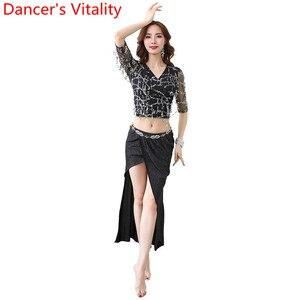 Image 5 - Oryantal dans uygulama elbise pullu püskül Cut out kollu üst etek seti kadın yeni başlayanlar için yeni başlayanlar için oryantal hint dansçıları giyim
