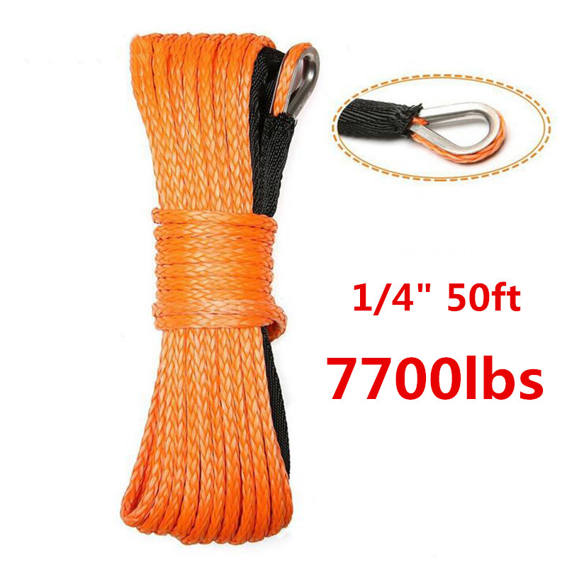 7700lbm 15m*6mm Emergency Safety Towing Ropes Cable Wire Winch Rope String Line Cable With Sheath Orange Synthetic Towing Rope