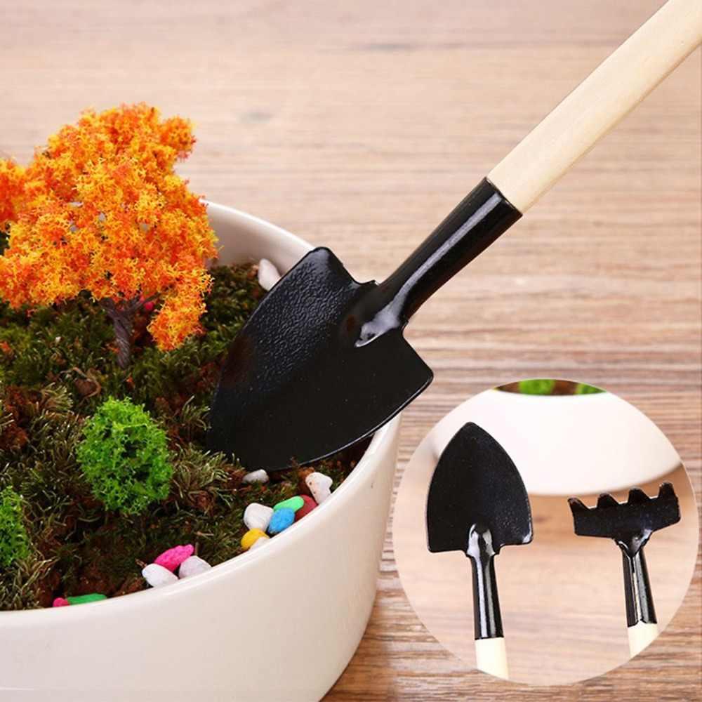 3 ピース/セットミニ園芸ツール木製ハンドルステンレス鋼鉢植えシャベルすくいスペード花鉢植え