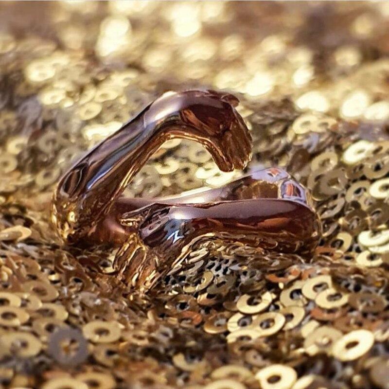 Nuovo romantico amore abbraccio intagliato anelli a mano amore creativo per sempre dito aperto anello regolabile per donna uomo gioielli di moda 2