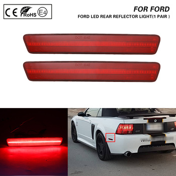 2X Red lens light LED Rear Bumper Reflector Side Marker For Ford Mustang 99-04