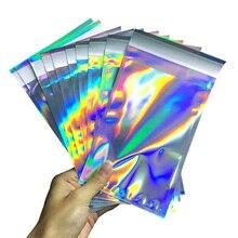 100 sztuk Laser samoklejący plastikowe koperty Mailing Storage Bags holograficzny prezent biżuteria Poly Adhesive torby kurierskie