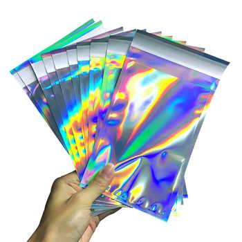 100pcs เลเซอร์พลาสติกปิดผนึกด้วยตนเองซองถุงเก็บเอกสาร Holographic ของขวัญเครื่องประดับ POLY กาว Courier บรรจุภัณฑ์ถุง - DISCOUNT ITEM  20% OFF All Category