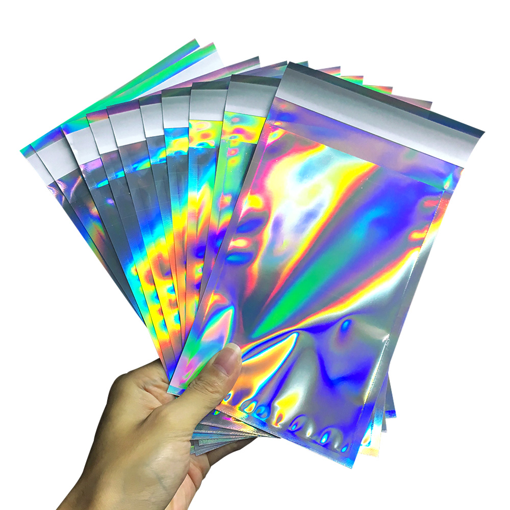 100pcs Laser Self Sealing Plastic Envelopes Mailing Storage Bags Holographic Gift Jewelry Poly Adhesive Courier Packaging Bags