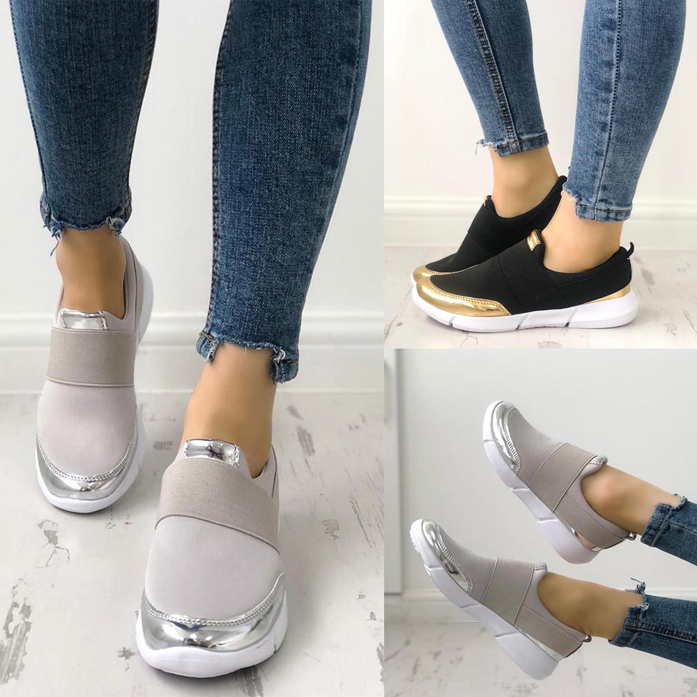 New Fashion ladies casual shoes are not tied with women 39 s shoes bright sneakers convenient and comfortable women 39 s shoes D30 in Walking Shoes from Sports amp Entertainment