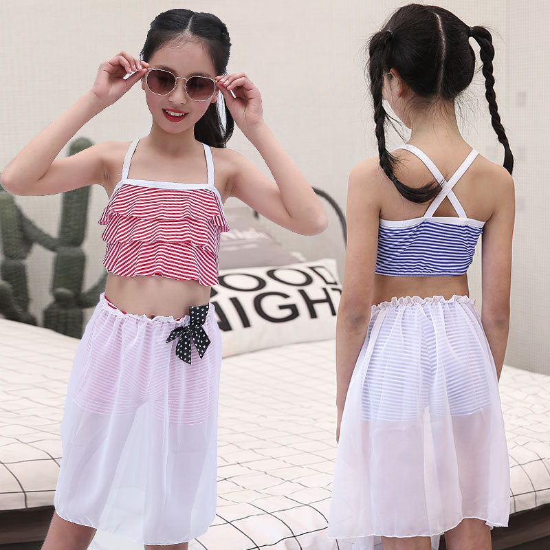 Girl'S Three-piece Small Large Size Split Type Swimwear Children Camisole Cute Baby Beach Hot Springs Students Swimming Suit