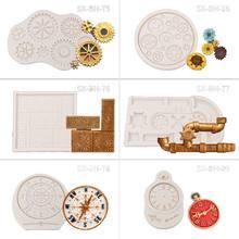 Molde de bolo steampunk estilo relógio e roda de relógio engrenagens coleção molde de silicone-1 # e5bb