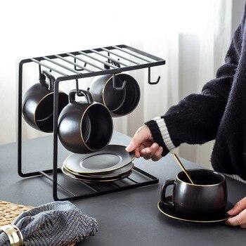 Gold Drawing Creative Simple Ins Ceramic Coffee Cup Set European Water Cup Set Mugs Cups Tea Sets Bone China Tea Pot