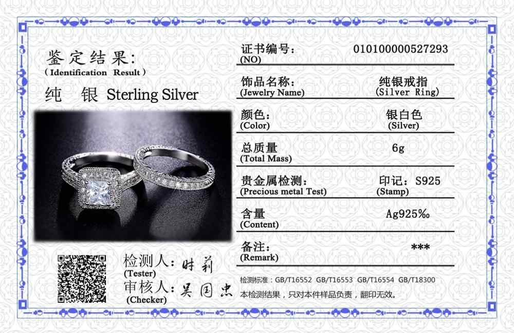 Com Certificado Original 925 Conjuntos Anel de Prata Para As Mulheres Brilhantes Strass Jóia Do Casamento Anel de Zircão Dupla Empilhável CER293