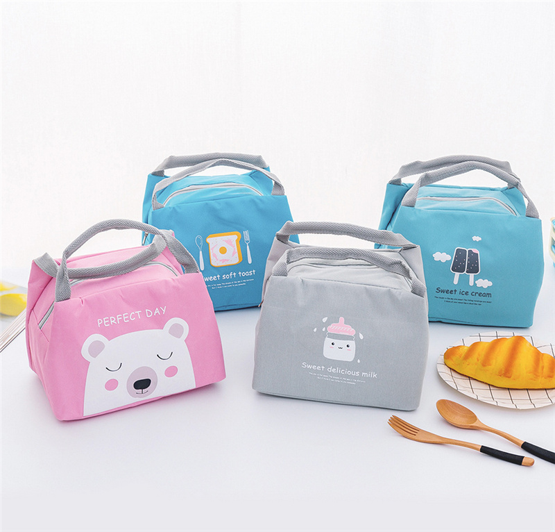 Portable Insulated Thermal Food Picnic Lunch Bag Box Cartoon Bags Pouch For Women