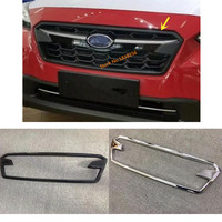 For SUBARU XV 2018 2019 Car Sticker Cover ABS Chrome/Carbon Fibre Trim Front Up Racing Grid Grill Grille Frame 1pcs