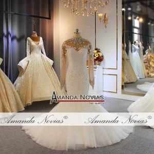Image 3 - Роскошное Свадебное платье с длинными рукавами и бусинами, бренд amanda novias