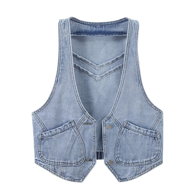 2022 Women Denim Vest Casual Thin New Fashion Simple Loose Cardigan Korean Pockets Hooded Coat Female Sleeveless Garment Jacket