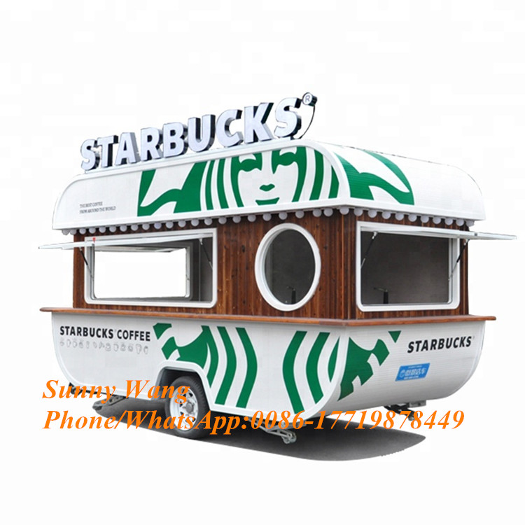 Customized Mobile Kitchen Churros Caravan Coffee Cart, Cold Food Truck Frozen Food Cart