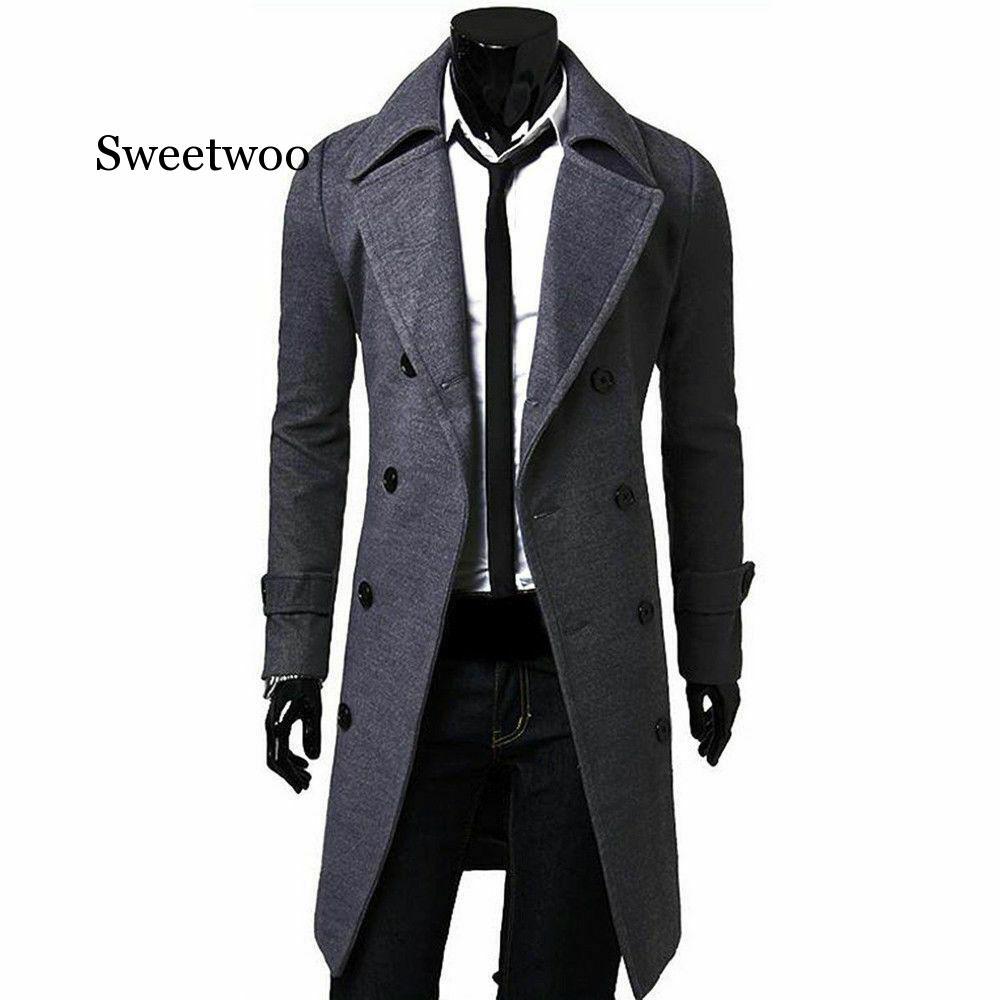 Men Jacket Warm Winter Trench Coat Long Outwear Button Overcoat Male Casual Windbreaker Overcoat Jackets coats Wool