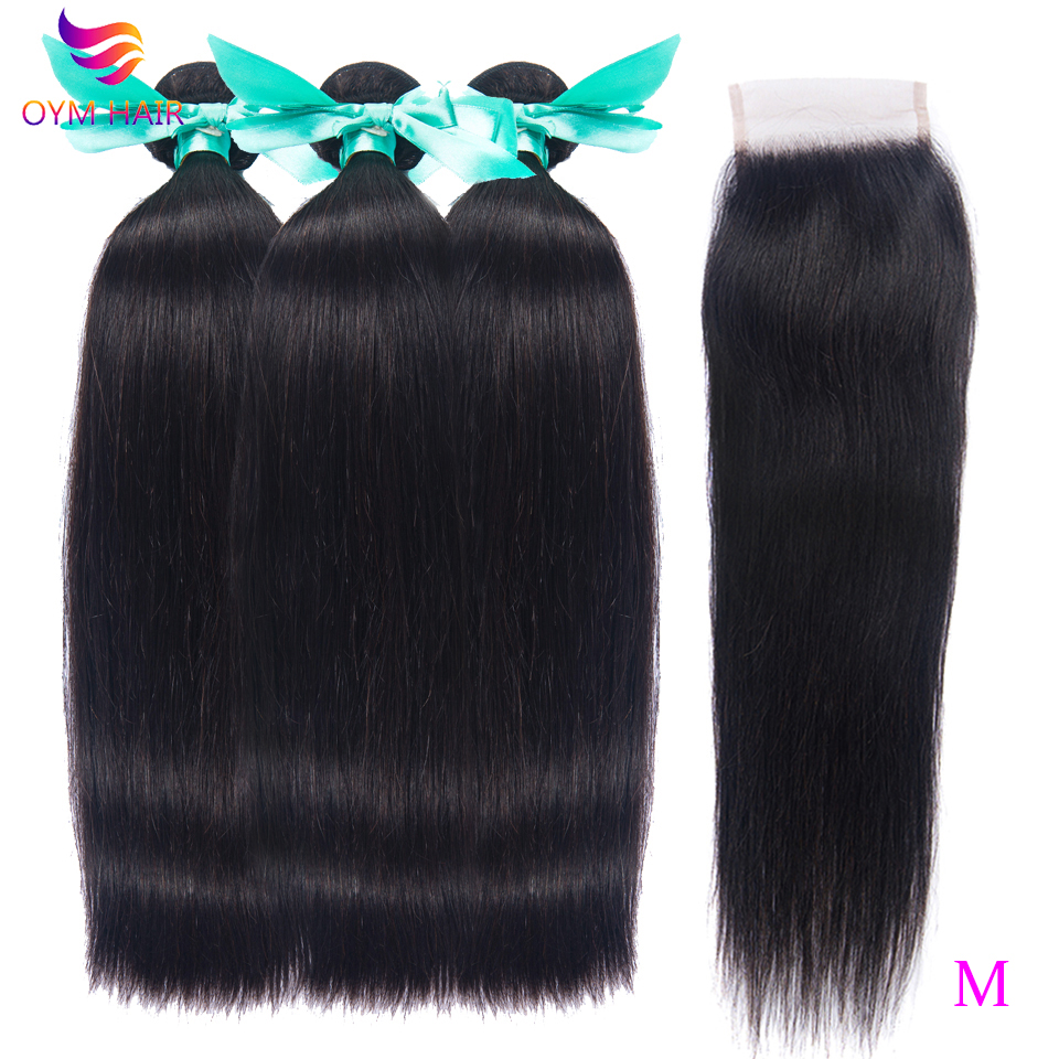 OYM HAIR Brazilian Straight Bundles Non-Remy Human Hair Extensions With 4*4 Lace Closure Double Weft Weave Bundles With Closure
