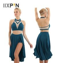 บัลเล่ต์ชุด Halter Crop Tops ไม่สมมาตร Latin Dance กระโปรงบัลเล่ต์ Tutu ผู้หญิงร่วมสมัย Lyrical Dance