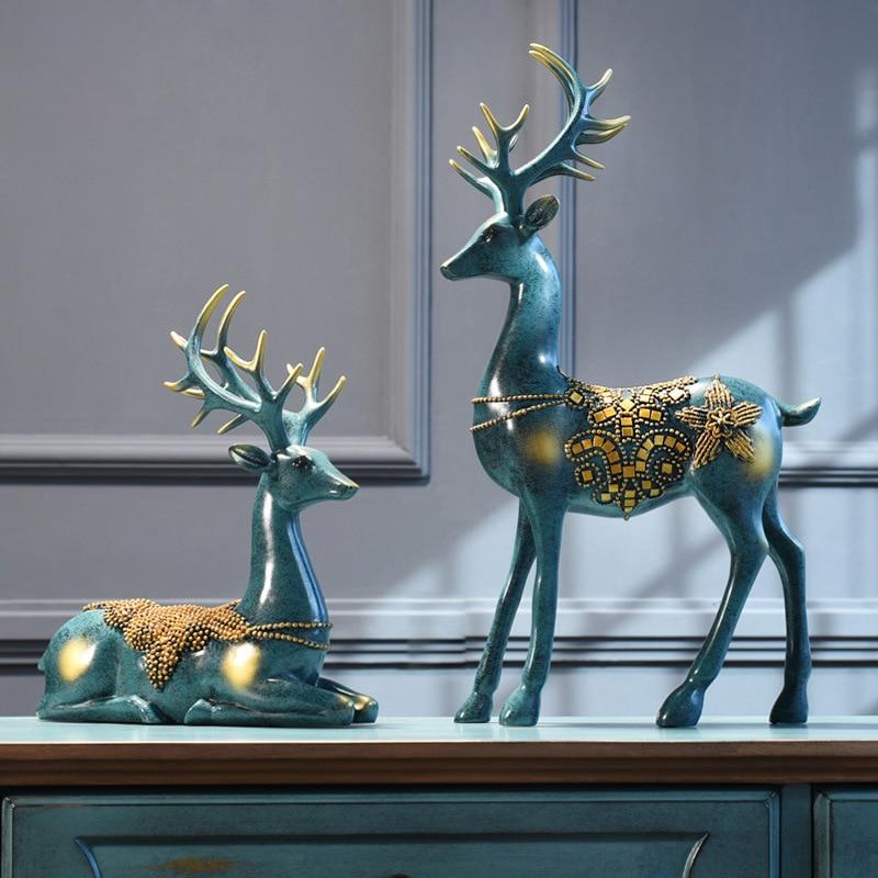 Nordic Home Decoration Deer Head Resin Statue Figurine Home Decor Statues Accessories/modern Sculpture Beelden Decoratie Art