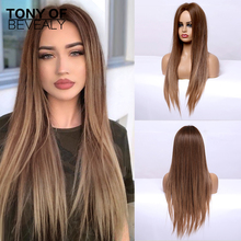 Long Straight Brown Ombre Natural Hair Wigs Middle Part Heat Resistant Synthetic Wigs for Afro Women Daily Cosplay Fashion Wigs