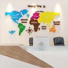 2021 novo diy grande acrílico colorido adesivo de parede mapa do mundo escritório sala estar tv fundo decoração da sua casa espelho adesivos papel