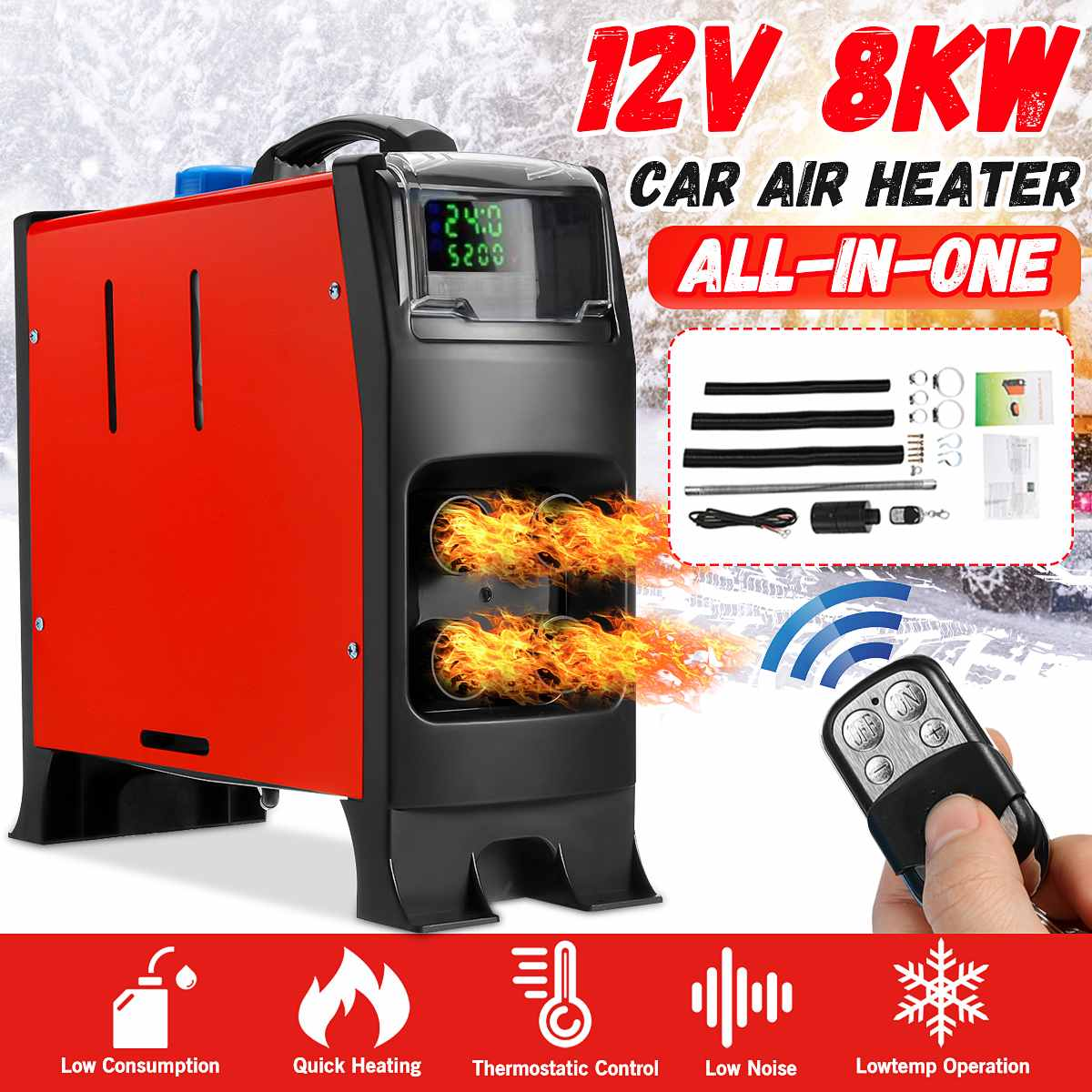 5-8KW Adjustable Car Heater All In One 12V Diesel Air Heater 4 Holes New LCD Monitor Parking Heater Quick Heat For Truck RV Bus