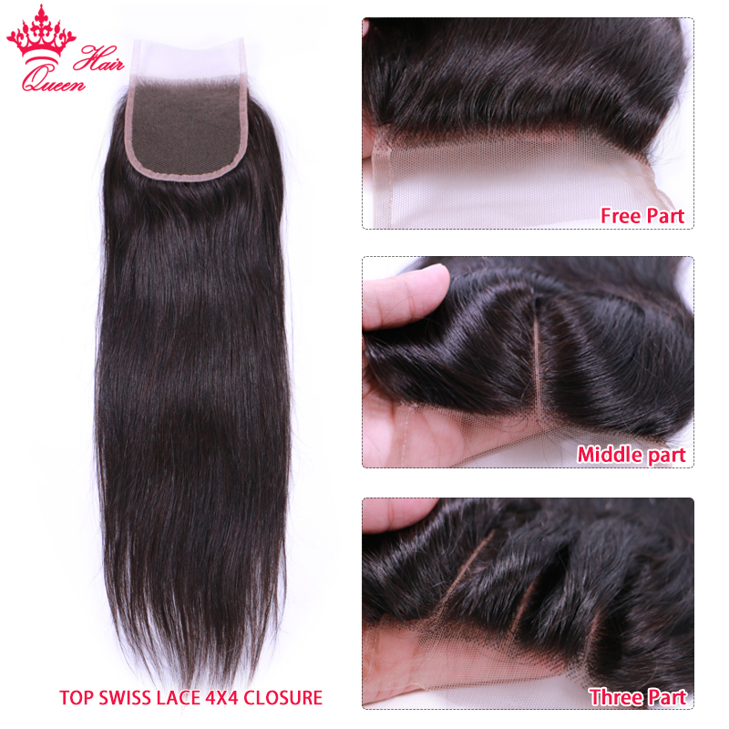 Queen Hair Products 100 Human Hair Brazilian Straight 3 Bundles With Closure Virgin Hair Extensions Natural color Lace Closure in 3 4 Bundles with Closure from Hair Extensions Wigs