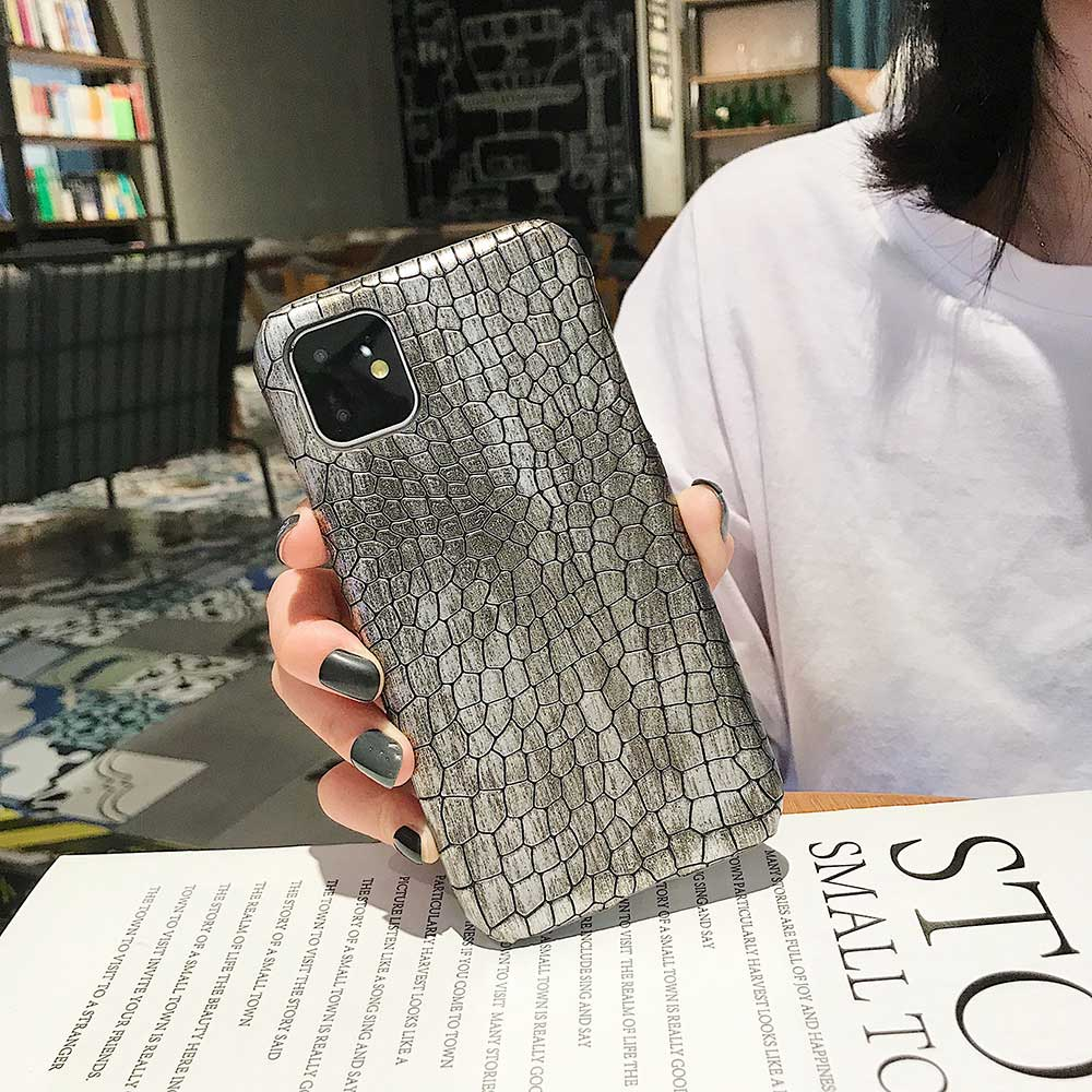 Fashion Cool Crocodile Snake Skin Cover Case With Hybrid Rubber Cape For iPhone Xs Max 9