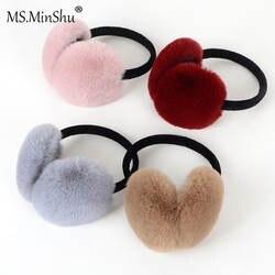 Ms. MinShu зимние наушники имитация кролика меховые наушники толстый мех зимние ушные теплые пушистые меховые наушники для детей и взрослых