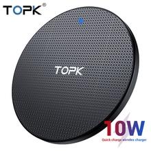 TOPK Беспроводное зарядное устройство 10 Вт для iPhone XR Xs Max X 8 Plus быстрая Беспроводная зарядная подставка для Xiaomi samsung S10 S9 Plus Note 8 9 10