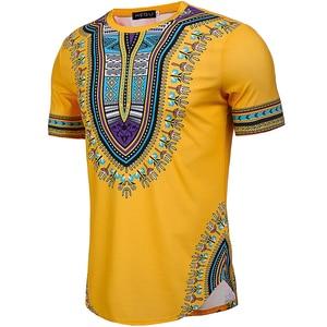 Image 4 - Camiseta Dashiki con estampado de estilo africano para hombre, camiseta de manga corta con cuello redondo, camiseta ajustada informal para Festival, 2020
