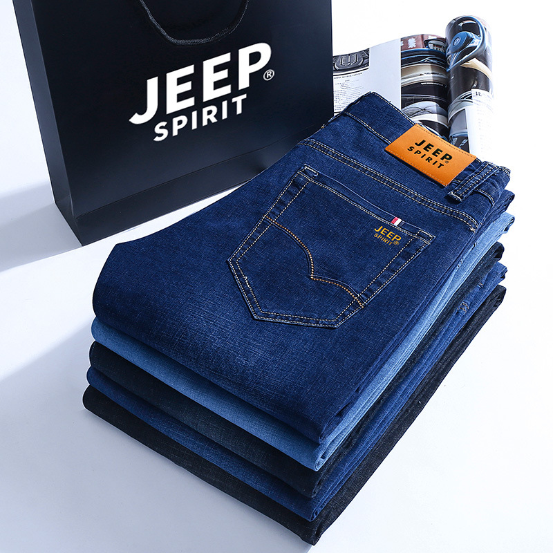 Nian Jeep Spring Summer Jeans Young MEN'S Slim Fit Pants Men's Korean-style Trend Skinny Elasticity Casual Pants