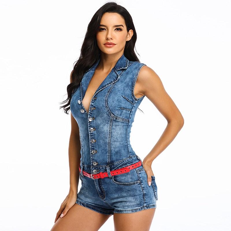 2020 New Summer Single Breasted Sexy Waist Jumpsuit Slim Denim Jumpsuit High Waist Elasticity Overalls Slim Shorts With Belt