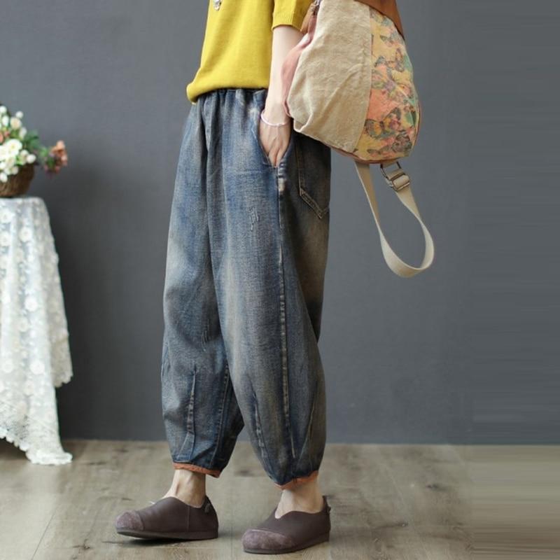 New Arrival Spring Autumn Arts Style Women Vintage Jeans Elastic Waist Loose Cotton Denim Harem Pants Casual Ladies Jeans S537