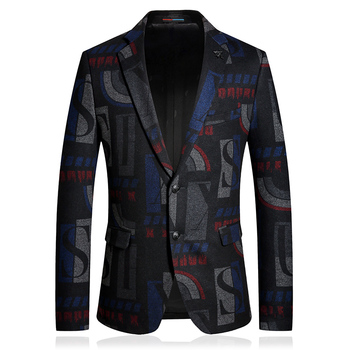 Wool Men blazer hombre 2020 Geometric Casual Business Office Winter thick suit jacket two-buttons wedding slim fit Coats Costume