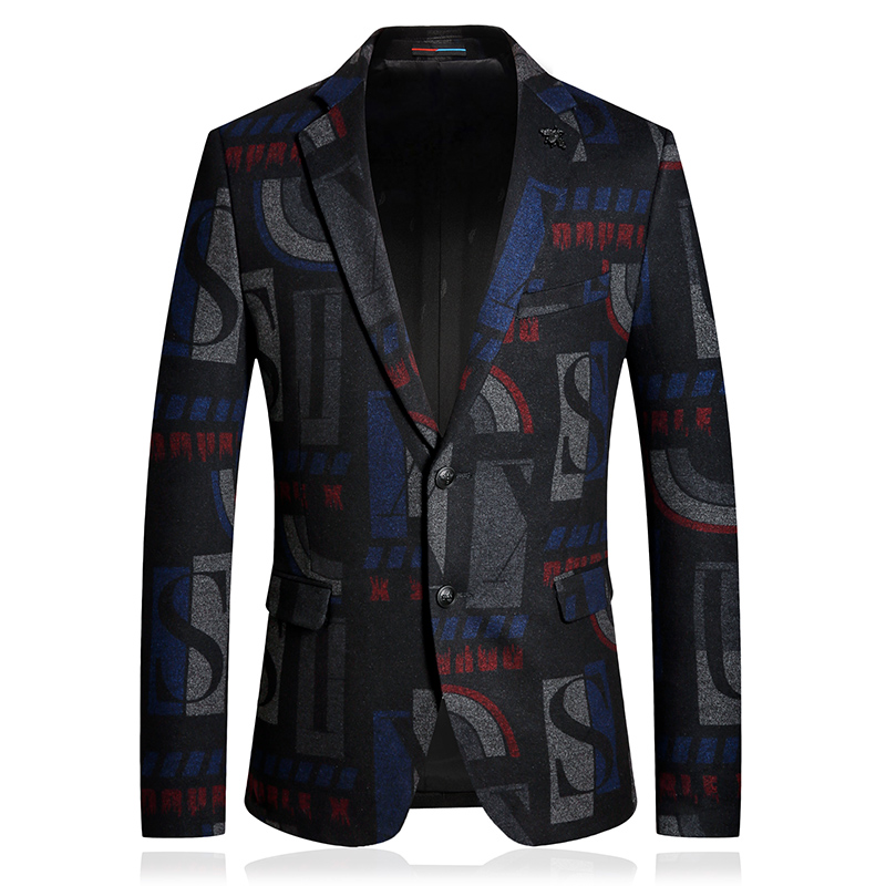 Wool Men blazer hombre 2019 Geometric Casual Business Office Winter thick suit jacket two-buttons wedding slim fit Coats Costume