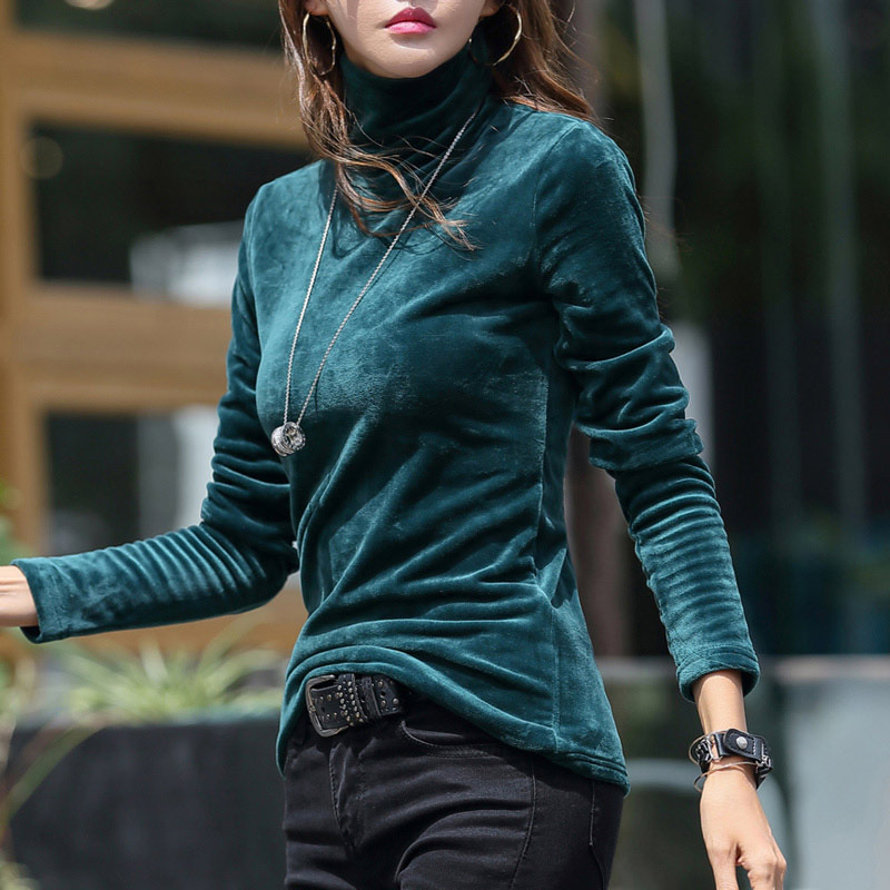 Women's Turtleneck Sweater Plus Size 4XL Thick Warm Winter Velvet Top Female Solid Pullovers Long Sleeve Warm Ladies Clothes
