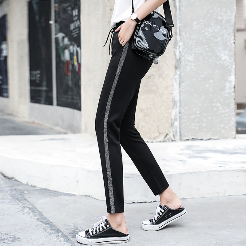 Fashion side stripe stitching casual pants women loose large size harem pants Fitness Capris Streetwear Leggings Cotton Pants