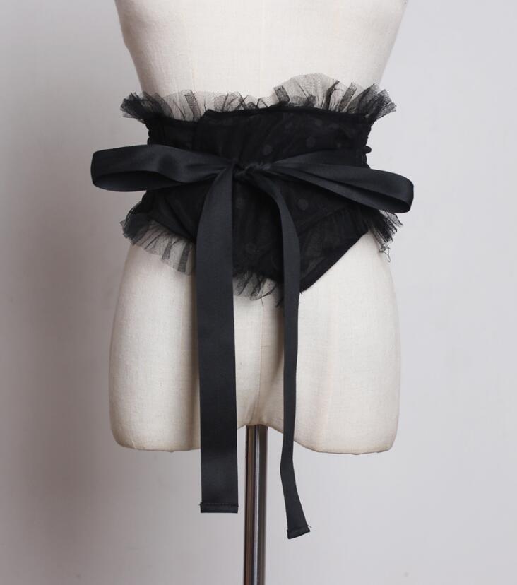 Women's Runway Fashion Bow Lace Cummerbunds Female Dress Coat Corsets Waistband Belts Decoration Wide Belt R1780