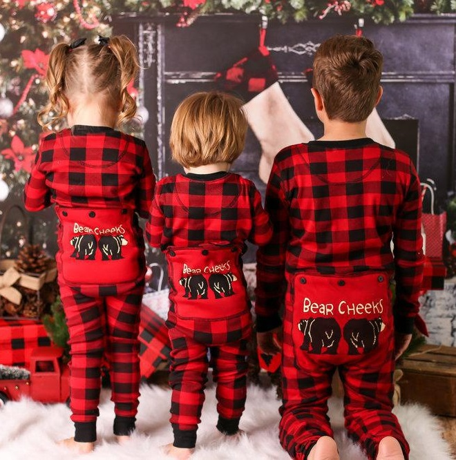 Onesies Plaid Christmas Pajamas Family Matching Clothes Outfits Look Father Mother Kids Baby's Nightwear Clothing Family Pajamas