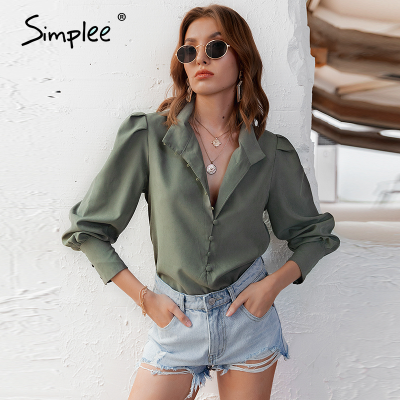 Simplee Elegant green women blouse shirt Vintage solid female top shirt Puff sleeve casual work wear office lady streetwear top