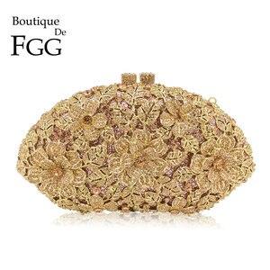 Image 1 - ブティックデfgg眩しいシャンパン花クリスタルクラッチイブニング財布バッグ女性フォーマルなディナーバッグウェディング財布